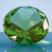 8cm Optical Crystal Green Diamond Paperweight