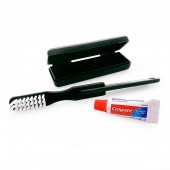 Black Travel Toothbrush Set with Colgate Toothpaste