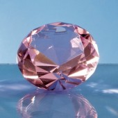 6cm Optical Crystal Pink Diamond Paperweight