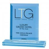 12cm Jade Glass Bevelled Edge Award